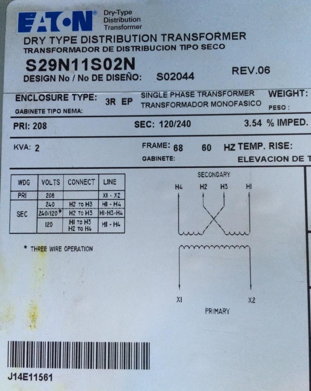 Transformer Wiring Question Advance Diagram Name Eaton Data Plate Views 1114 Size 1592 Kb