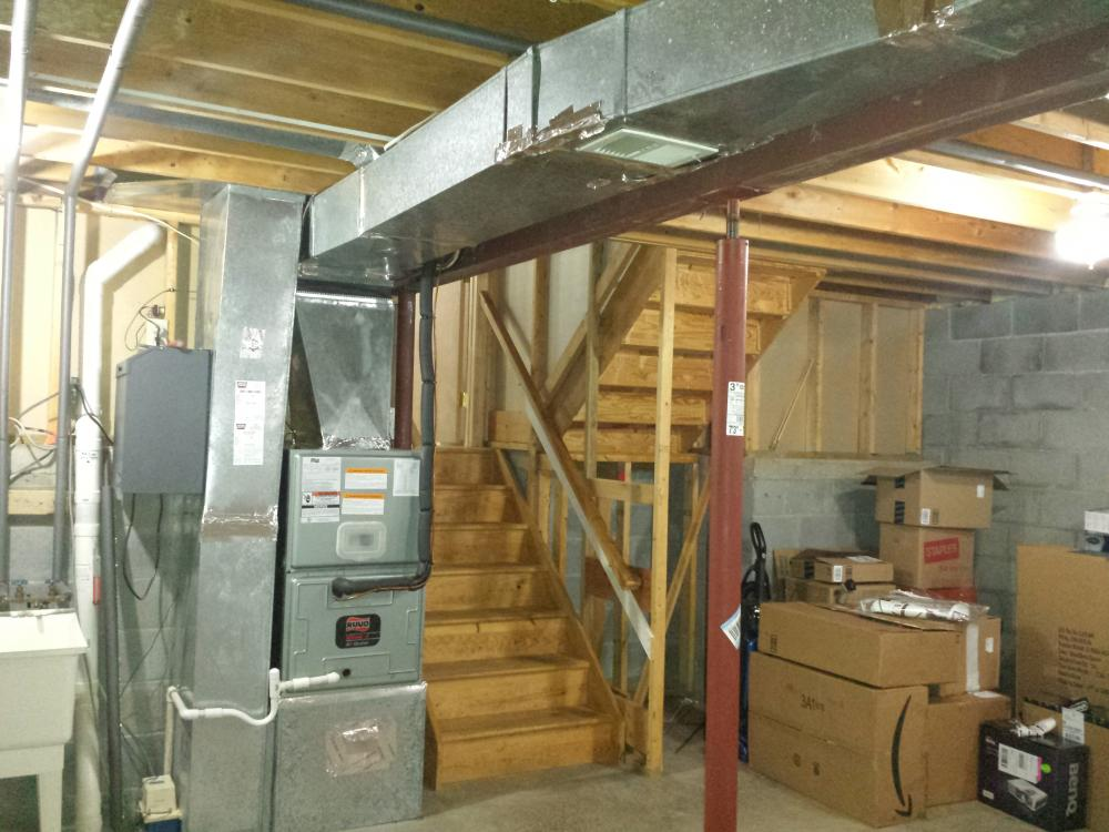upper basement shows supply duct and the bathroom register 39 s duct