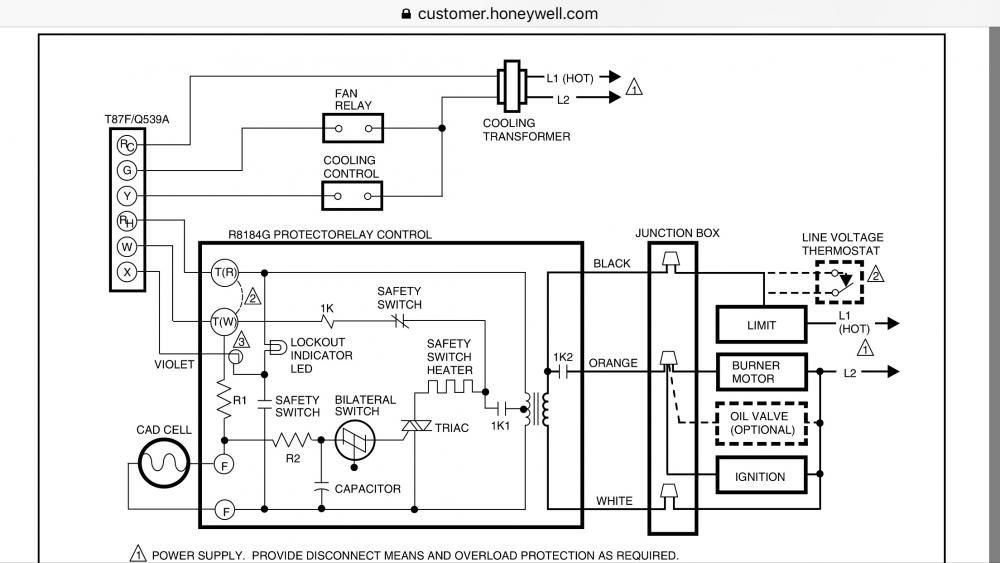 Oil Burner Wiring Diagram  Help Makeshift C Wire From Oil Furnace  Honeywell Rth9580 Wifi